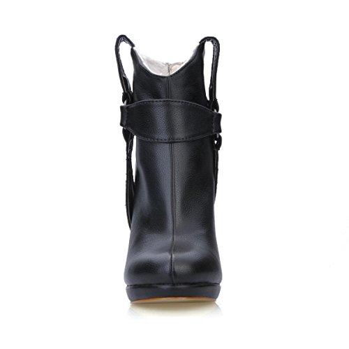Best 4U® Stivaletti da donna Premium PU 12CM Tacchi alti Stiletto Suola di gomma Punta tonda Bow Zipper Primavera Autunno Scarpe nere