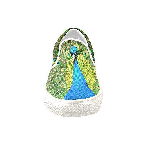 D-story Custom Sneaker Blue Peacock Donna Insolito Slip-on Scarpe Di Tela