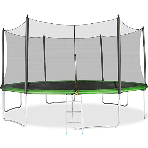 Merax 14FT 15FT Trampoline with Safety Enclosure Net, Safety Pad and Ladder, Trampoline for Kids (14FT-Green)