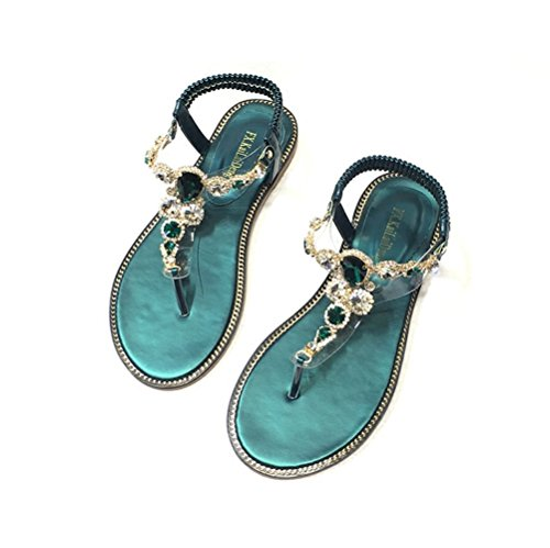 JUWOJIA Summer New Sweet Water Drill Toe Sole Sandals Bohemia Wind Green Beach Sandals negro