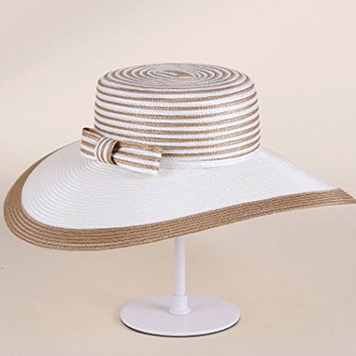 Dovaly Womens Fascinator Kentucky Derby Large Brim White Gold Striped Bowknot Sunhat by Dovaly (Image #2)