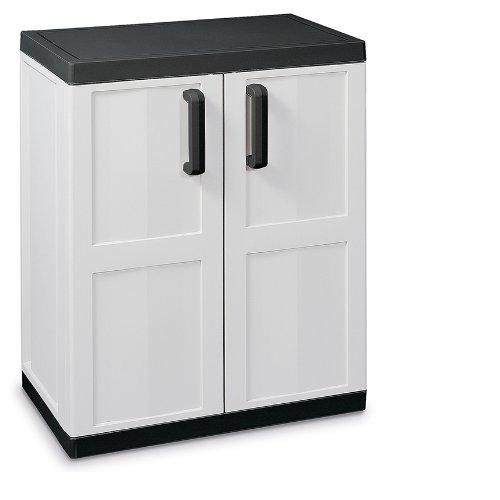 TOOMAX 85 x 68 x 42cm Comfort Line Medium Storage Unit with 2 Doors/ 2 Adjustable Shelves – Grey/ Black