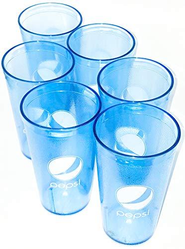 Ice Blue Pepsi Globe Logo Plastic Tumblers Set of 6-16oz]()