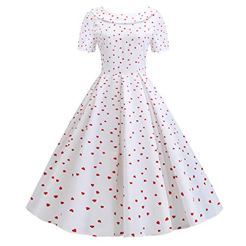 Smdoxi Summer Fashion Women's Round Neck Casual Doll Collar Polka dot Floral Print Zipper Backless Bow Dress White