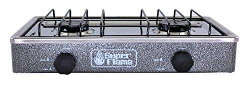 Super Flama 2Q-CA-G Estufa de Gas de 2 Quemadores con Cubierta de Acero y Cuerpo de Lamina Pintada, color Gris