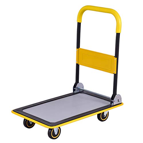 330lbs Max weight Cart Driver Handle Dolly Space-saving Folding Platform Trolley for Auto Business Cargo Furniture Industrial Warehouse and Groceries Department Store use Moving Heavy Goods Hand Truck from Iresamaz