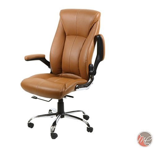 MADISON & PARK Office Desk Chair Leather Computer Executive Conference Task Study Chair Adjustable Swivel Chair with Adjustable Arms (Cappuccino)