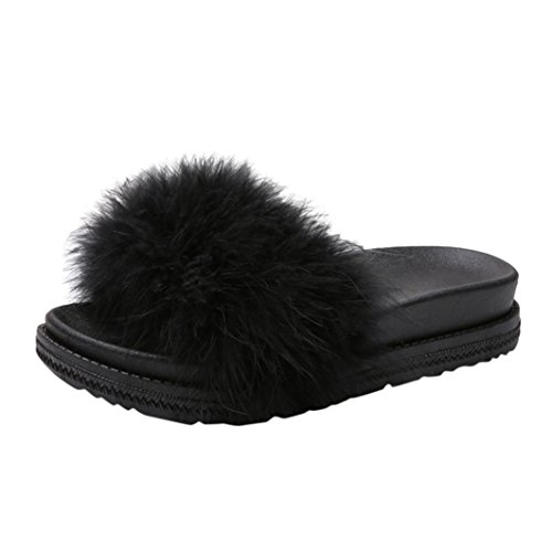 SUEKQ Women's Open Toe Slippers, Fluffy Faux Fur Soft Slide Flat Flip Flops Slip On Sandals for Ladies Girls (5 B(M) US, Black) by SUKEQ