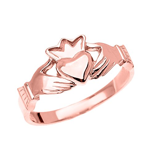 14k Rose Gold Dainty Ladies Claddagh Ring (Size 7)