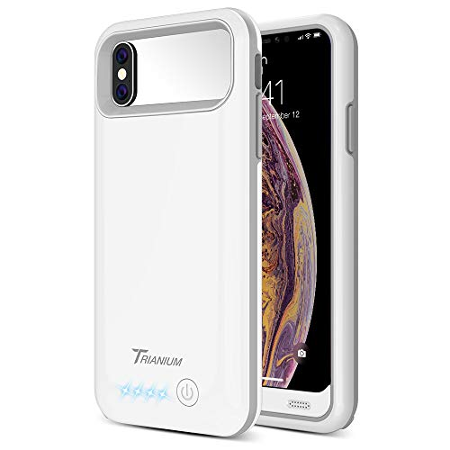 Trianium Atomic Pro Battery Case Compatible with Apple iPhone Xs/iPhone X (5.8-Inch) 4000mAh Portable Rechargeable Extended Power Charger [Not Support Wireless Charger] - White/Grey
