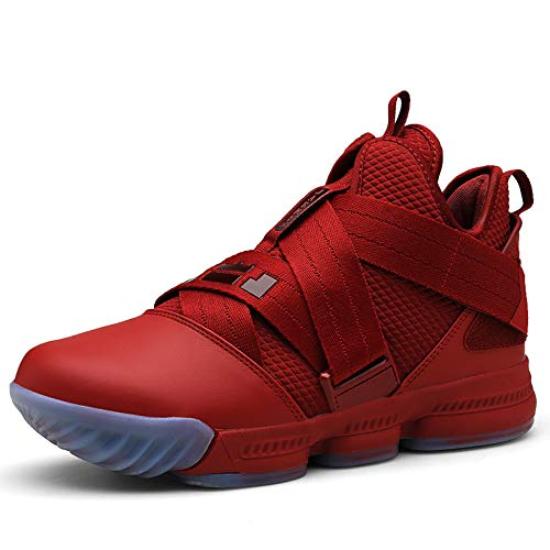 SIX FOOTPRINTS Men's High-Top Basketball Shoes Fashion Casual Breathable Running Sports Shoes Shock-Absorbing Non-Slip Wear-Resistant Boots (7 M US Men, Red) (Best Looking Kd 6)