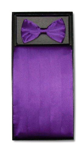Purple Mens Cummerbund - SILK Cumberbund & BowTie Solid PURPLE Color Men's Cummerbund Bow Tie Set