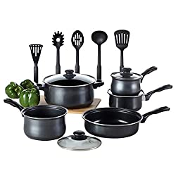 Kitchen Cookware Set Toptier 14 Pieces Nonstick Kitchen Pots Pans Set Coating Technology With 3 Saucepans Glass Lids 1 Dutch Oven 1 Open Skillet And 5 Nonstick Cooking Utensils Black