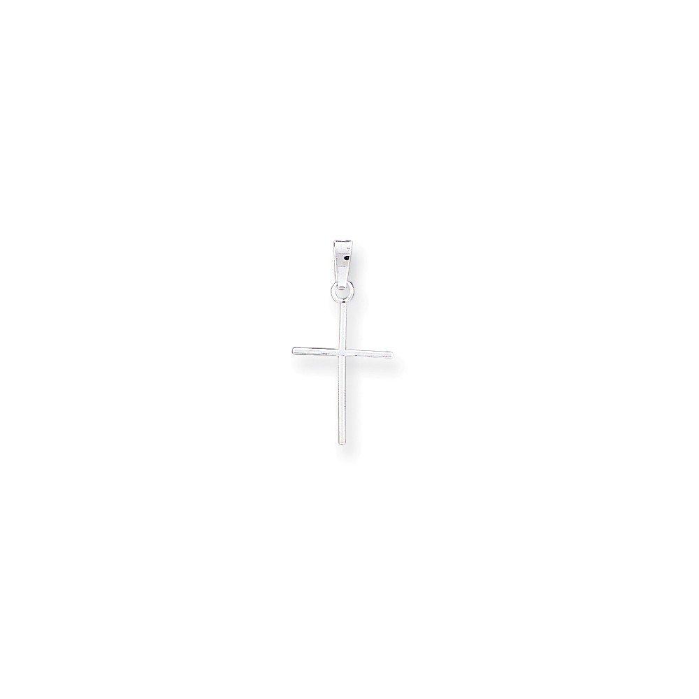 Black Bow Jewelry 14k White Gold Thin Latin Cross Pendant