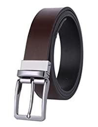 ITIEZY Men's Dress Leather Black and Brown Reversible Belt 35mm Wide Rotated Buckle