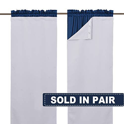 NICETOWN White Blackout Curtain Liners for Window - Noise Reducing Light Blocking Liner for 84 inch Curtains (Set of 2, Each 27