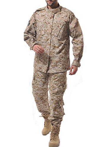 [Men's Tactical Response Suit Army Military Camouflage Uniform Training Jacket & Pants Ripstop Shirt Digital Combat Coat Multicam Battle Strike Airsoft Paintball Set for Hunting Shooting War Game] (Air Battle Uniform)