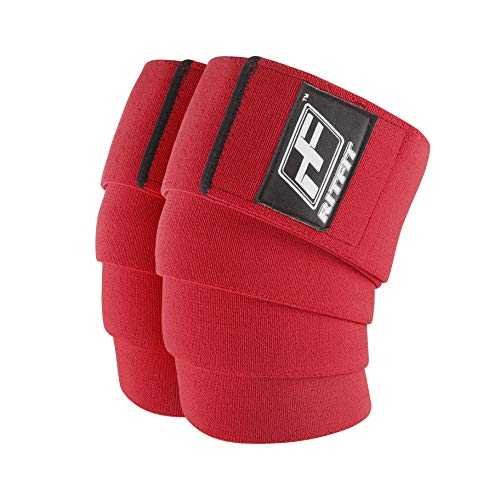 RitFit Knee Wraps (Pair) - Ideal for Squats, Powerlifting, Weightlifting, Cross Training WODs - Compression & Elastic Support - for Men & Women - Bonus Carry Case (Red Pro)