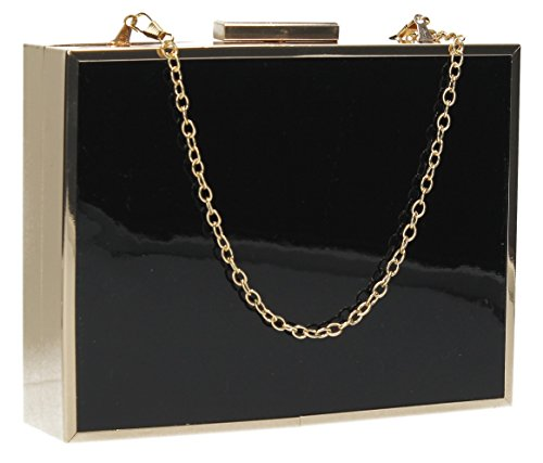SWANKYSWANS Womens Kate Box Patent Clutch Black (Black)