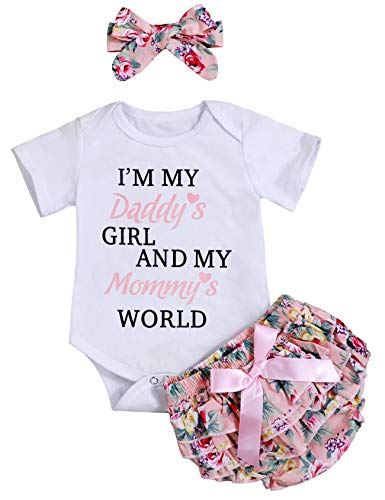 (Newborn Baby Girls Clothes Letters Romper Floral Shorts with Headband Bodysuit Outfit Sets(70) Pink)