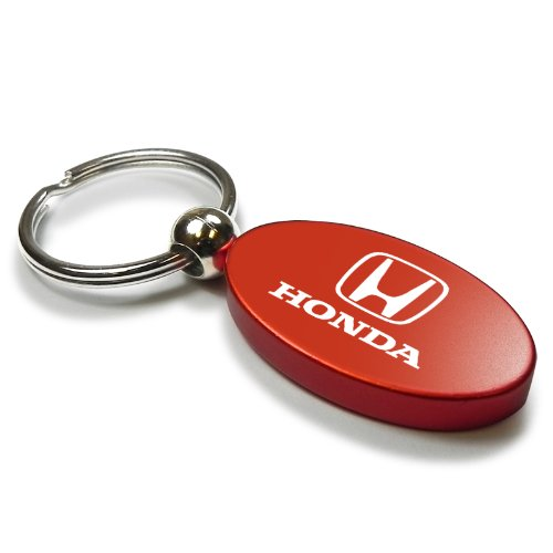 Honda Logo Red Aluminum Oval Key Chain
