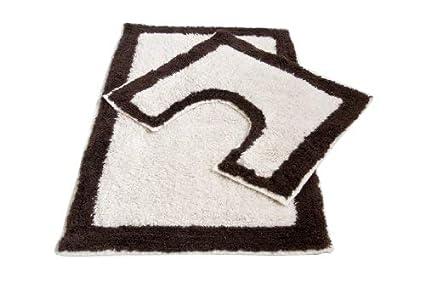Original Sleep Company 2 Piece 100/% Cotton Bath Mat and Pedestal Set in White and Blue