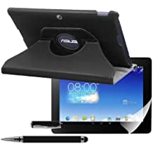 kwmobile 3in1 set: Case 360° for Asus Memo Pad FHD 10 Case with stand - protective tablet cover with standing function in black + Skin, crystal clear + Stylus, black