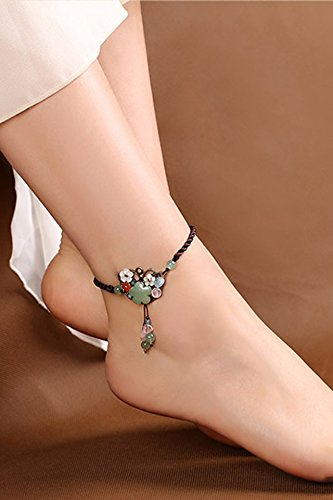 KENHOI Beauty intrigue national anklets women girls ancient chinese jade ornaments complex personality foot chain summer antiquity foot ring foot decorated anklets fashion retro unique gift woman