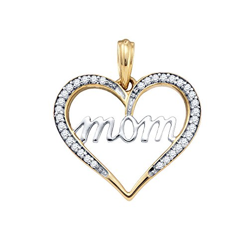 10k Yellow Gold Diamond Mom Mother Heart Love Anniversary Pendant 1/10 Cttw
