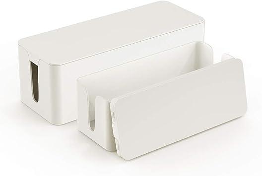 Caja organizadora de cables – Caja organizadora de cables – Caja de gestión de cables – Caja para ocultar sobretensiones – Juego de 2 unidades, color blanco: Amazon.es: Electrónica