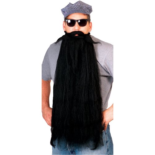 Rubie's Super Long Mohair Beard and Moustache Set, Black, One (Long Hair Beard Halloween Costumes)