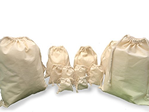- (PACK OF 100) 100% Organic Cotton Double Drawstring Muslin Bags Natural Color, Choose from sizes 3x4, 3x5, 4x6, 5x7, 6x8, 8x10, 8x12, 10x12, 12x16 inches (5x7 inches)