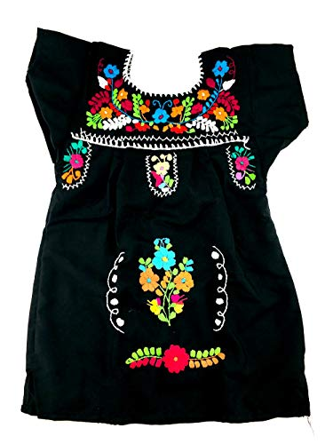 Mexican Infant Black Size 0 Tehuacan Dress Day of The Dead Coco Theme Party Halloween Party ()
