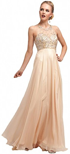 Meier Women's High Neck Beaded Sheer Top Pageant Prom Party Dress Champagne-6