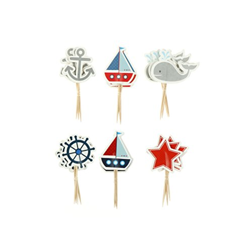iMagitek 48 Pcs Ocean Sailing Yacht Boat Nautical Cupcake Toppers Pirate Ship Whale Cake Decorations for Baby Shower, Birthday -
