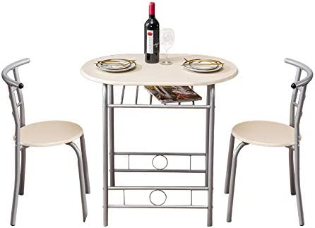 Black Teeker 3 Piece Dining Set Compact 2 Chairs and Table Set,PVC Breakfast Table with Metal Frame and Shelf Storage Bistro Pub Breakfast Space Saving for Apartment and Kitchen