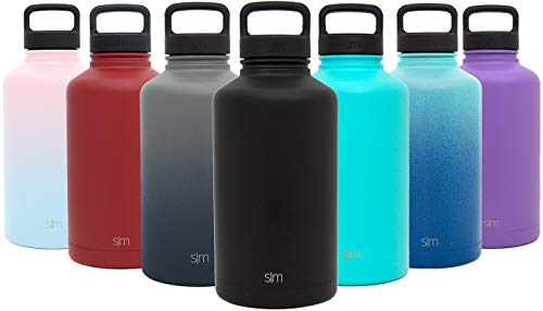 (Simple Modern 40 oz Summit Water Bottle - Stainless Steel Metal Flask +2 Lids - Wide Mouth Double Wall Vacuum Insulated Black Leakproof Thermos - Midnight Black)