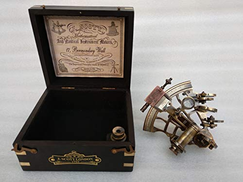US HANDICRAFTS J. Scott London Brass Ship History Sextant with Hardwood Box. Vintage Solid Antique Brass Nautical Functional Maritime Sextant   Nautical Navy Decor Gifts. by US HANDICRAFTS (Image #1)