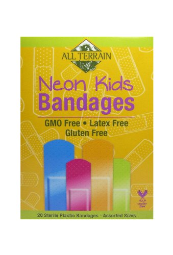 All Terrain Kids Neon Bandages, Latex-Free, Fun Neon Colors, First Aid for Minor Cuts, Scrapes & Burns, 20 Sterile Bandages - Assorted Sizes
