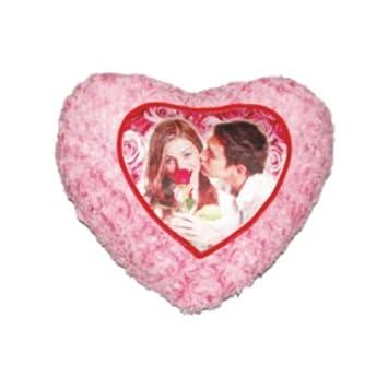 Pink Fur Heart Pillow