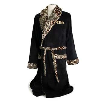 Elvis Presley Black / Gold Embroidered Bath Robe New Gift