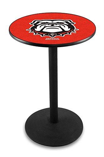 Holland Bar Stool L214B36GA-Dog 36 In. Black Wrinkle Georgia Bulldog Pub Table