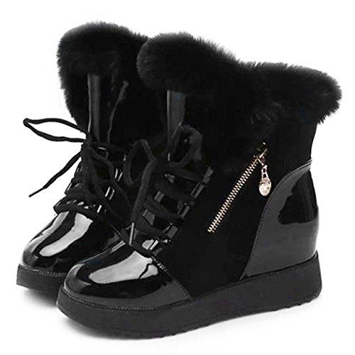 begorey Winterschuhe Schneestiefel Warm Gefütterte Boots Schlupfstiefel Booties Winterstiefel Schuhe Kunstfell Stiefel Nieten Schwarz