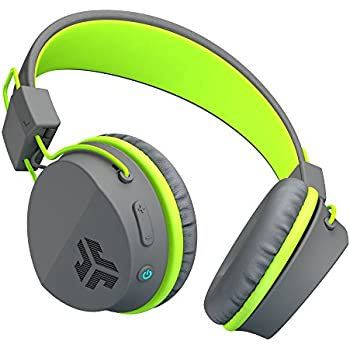 JLab Audio Neon Bluetooth On Ear Headphones, Folding with Universal Mic - Gray/Green