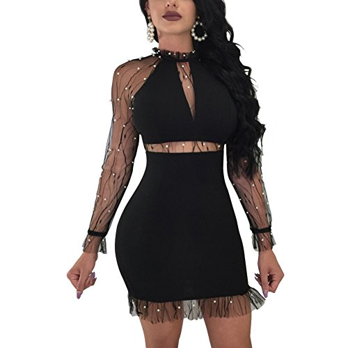 Kafiloe Womens Sexy Mesh Long Sleeve Hollow Out Mock Neck Party Club Short Mini Bodycon Dress Above Knee Black XL