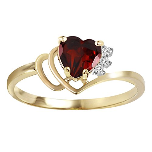 0.97 CTW 14k Solid Gold Ring with Natural Diamonds and (Solid Gold Heart Ring)