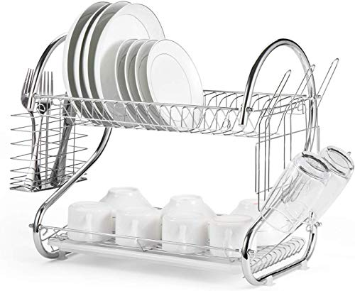 Dish Drying Rack-2Tiers,Kitchen Organizer Shelf with Drain Board,Dish Drainer with Utensil Holder, Cup Holder Kitchen Counter Top – 15.74 x 9.84 x 14.6inch