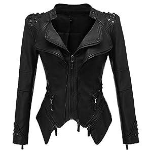 chouyatou Women's Punk Stylish Oblique Zip Slimming Studded Faux Leather Moto Jacket