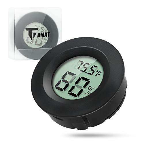 Digital Instant Read Thermometer Hygrometer, TIAMAT Indoor Temperature Humidity Meter Detector, Electronic Thermometer For Kitchen, Indoor Garden, Cellar, Fridge, Closet - Black