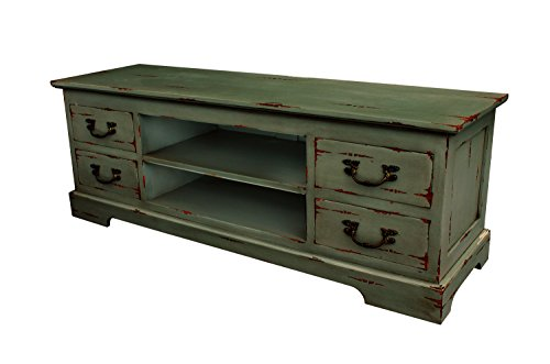 (NES Furniture abc10064 Madison TV Stand Fine Handcrafted Solid Mahogany Wood, 55 inches, Antique Gray )